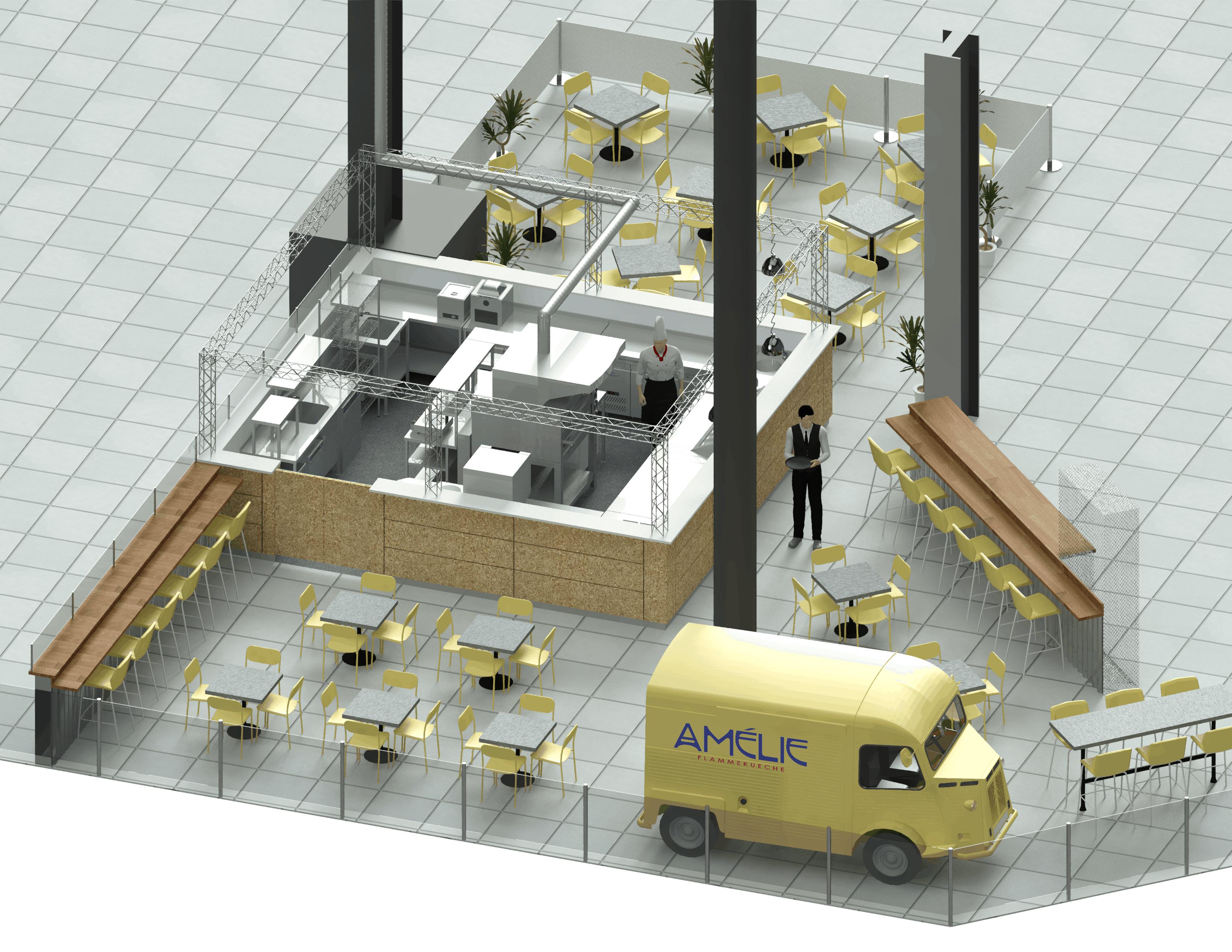 Commercial Kitchen Design at Amélie Cambridge